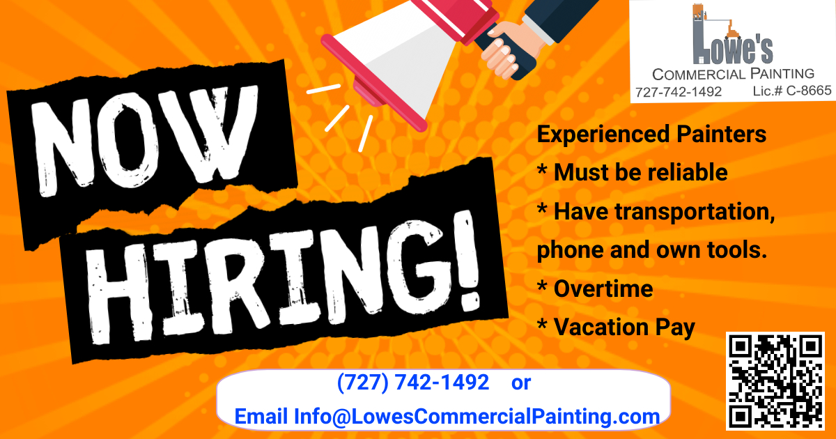 Now Hiring Experienced Painters Clearwater, Seminole, St. Pete, Tampa Bay, Pinellas County